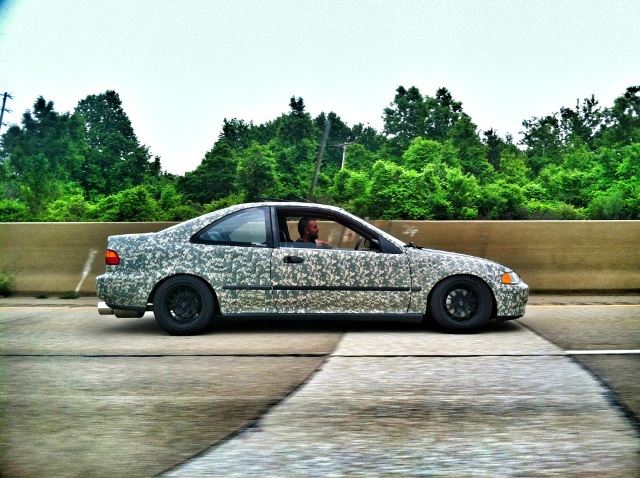 side shot of 95 civic ex camo tape